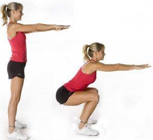Приседание, лучшее упражнения для похудения в домашних условиях